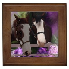 Two Horses Framed Ceramic Tile by JulianneOsoske