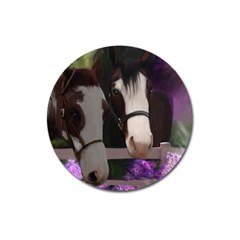 Two Horses Magnet 3  (round) by JulianneOsoske