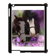 Two Horses Apple Ipad 3/4 Case (black) by JulianneOsoske