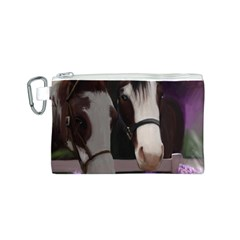 Two Horses Canvas Cosmetic Bag (small) by JulianneOsoske