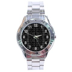 Black And White Tribal  Stainless Steel Watch by dflcprints