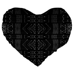 Black And White Tribal  Large 19  Premium Heart Shape Cushion by dflcprints