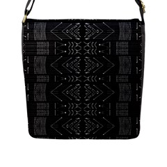 Black And White Tribal  Flap Closure Messenger Bag (large) by dflcprints