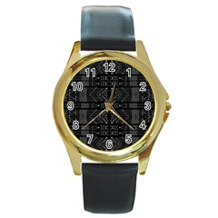 Black And White Tribal  Round Leather Watch (gold Rim)  by dflcprints