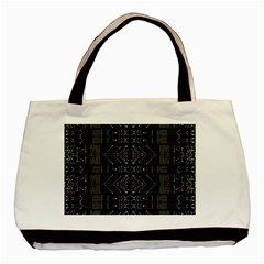 Black And White Tribal  Twin Sided Black Tote Bag by dflcprints