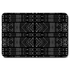 Black And White Tribal  Large Door Mat by dflcprints