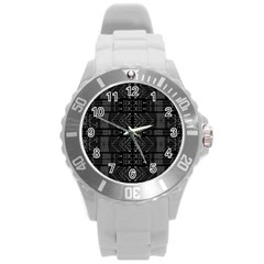 Black And White Tribal  Plastic Sport Watch (large) by dflcprints