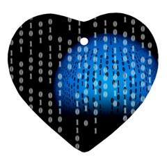 Binary Rain Heart Ornament by StuffOrSomething