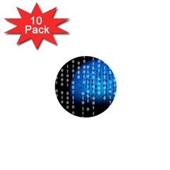 Binary Rain 1  Mini Button (10 Pack) by StuffOrSomething
