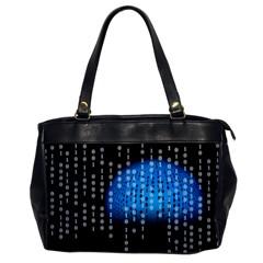 Binary Rain Oversize Office Handbag (one Side) by StuffOrSomething