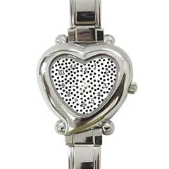 Black Polka Dots Heart Italian Charm Watch  by Justbyjuliestore