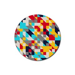 Colorful Shapes Rubber Coaster (round) by LalyLauraFLM