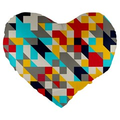 Colorful Shapes Large 19  Premium Heart Shape Cushion by LalyLauraFLM