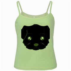 Affenpinscher Cartoon 2 Sided Head Green Spaghetti Tank by TailWags