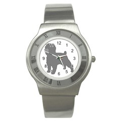 Affenpinscher Color Grey Silo Stainless Steel Watch (Slim) by TailWags