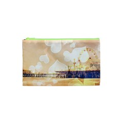 Bokeh Hearts Santa Monica Pier Cosmetic Bag (xs) by stineshop