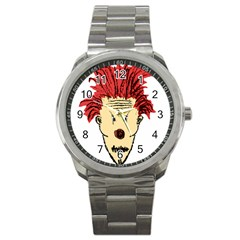 Evil Clown Hand Draw Illustration Sport Metal Watch by dflcprints
