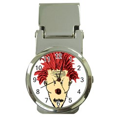 Evil Clown Hand Draw Illustration Money Clip With Watch by dflcprints