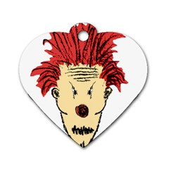 Evil Clown Hand Draw Illustration Dog Tag Heart (one Sided)  by dflcprints