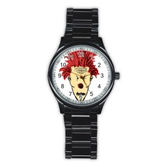 Evil Clown Hand Draw Illustration Sport Metal Watch (black) by dflcprints