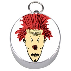 Evil Clown Hand Draw Illustration Silver Compass by dflcprints