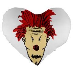 Evil Clown Hand Draw Illustration Large 19  Premium Flano Heart Shape Cushion by dflcprints