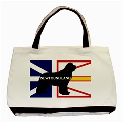 Newfoundland Name Silo On Flag Twin-sided Black Tote Bag by TailWags