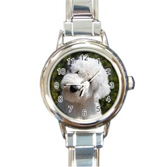Old English Sheep Dog Pup Round Italian Charm Watch by TailWags