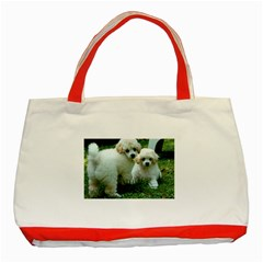 White 2 Poodle Pups Classic Tote Bag (Red) by TailWags