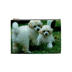 White 2 Poodle Pups Cosmetic Bag (Medium) by TailWags