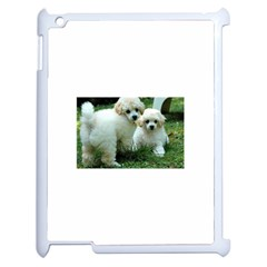 White 2 Poodle Pups Apple iPad 2 Case (White) by TailWags