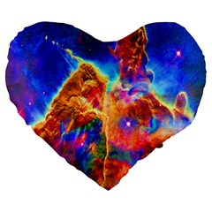 Cosmic Mind Large 19  Premium Flano Heart Shape Cushion by icarusismartdesigns