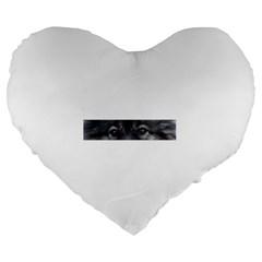 Keeshond Eyes Large 19  Premium Heart Shape Cushion by TailWags