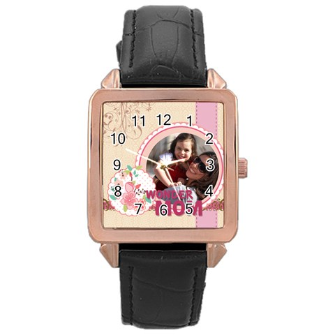 Mothers Day By Mom   Rose Gold Leather Watch    W5s4iihqwiro   Www Artscow Com Front