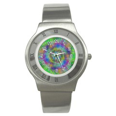 Hypnotic Star Burst Fractal Stainless Steel Watch (slim) by StuffOrSomething