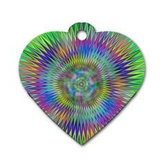 Hypnotic Star Burst Fractal Dog Tag Heart (one Sided)  by StuffOrSomething