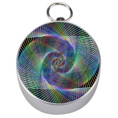 Psychedelic Spiral Silver Compass by StuffOrSomething