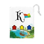 keyflower_bag_meeples - Drawstring Pouch (Large)