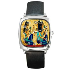 Egyptian Queens Square Leather Watch by TheWowFactor