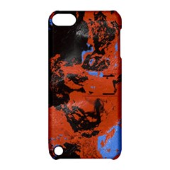 Orange Blue Black Texture Apple Ipod Touch 5 Hardshell Case With Stand by LalyLauraFLM
