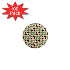 Brown Green Rectangles Pattern 1  Mini Magnet (100 Pack)  by LalyLauraFLM