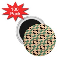 Brown Green Rectangles Pattern 1 75  Magnet (100 Pack)  by LalyLauraFLM