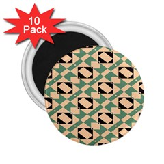 Brown Green Rectangles Pattern 2 25  Magnet (10 Pack) by LalyLauraFLM