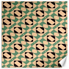 Brown Green Rectangles Pattern Canvas 16  X 16  by LalyLauraFLM