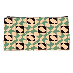 Brown Green Rectangles Pattern Pencil Case by LalyLauraFLM