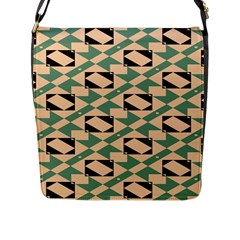 Brown Green Rectangles Pattern Flap Closure Messenger Bag (large) by LalyLauraFLM