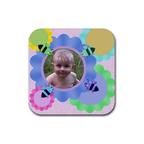 Flowers And Bees Rubber Square Coaster 4 Pack By Chere s Creations   Rubber Square Coaster (4 Pack)   G0lsck40i6hl   Www Artscow Com Front