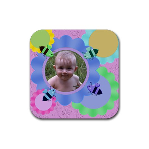 Bees And Flowers Rubber Coaster By Chere s Creations   Rubber Coaster (square)   L4vj9mi4ikh7   Www Artscow Com Front