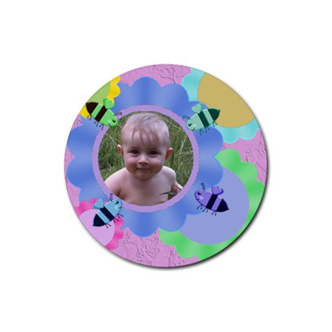 Bees And Flowers Round Rubber Coaster By Chere s Creations   Rubber Coaster (round)   S1b3up0gqcc2   Www Artscow Com Front