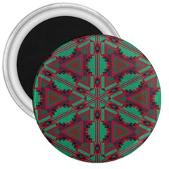 Green Tribal Star 3  Magnet by LalyLauraFLM